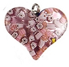 Fused Murano Glass Curved Silver Foil Heart 30mm Lt Amethyst and Millefiori