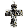 Black & White Murano Glass Millefiori Cross Pendant, 40mm