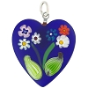 Cobalt Bouquet Heart Transparent, Murano Glass Pendant