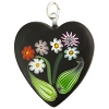 Black Bouquet Heart Transparent, Murano Glass Pendant
