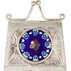 .925 Sterling Silver Locket Purse with a Blue Boquet Millefiori