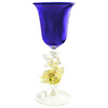 Murano Mouth Blown Cobalt Blue Wine Glass with Gold Classic Dolphin Stem