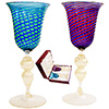 Murano Wine Glass Set Mouthblown in Murano Red, Blue Aqua Green Stripes