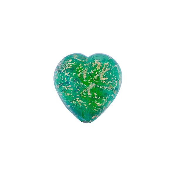 Foil Glass Puffy Heart Beads 12mm Teal Blue 20 Pcs Art Hobby Jewellery Making