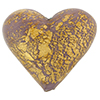 Murano Glass Bead Ca'd'oro Opaque 28mm Heart Gold Viola