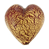 Murano Glass Bead Ca'd'oro Opaque 28mm Heart Gold Red