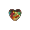 Red and Sea Green Cluseau Heart 13mm Multi-Colored Jeweled Murano Glass Bead