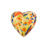 18mm Heart Shaped Murano Glass Bead, Gold Cluseau Pattern