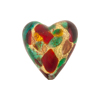 Red and Sea Green Cluseau Heart Multi 20mm Gold Foil Murano Glass Bead