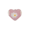 Pink Opalescent Daisy Heart 12mm Murano Glass