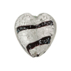 Murano Glass Dichroic Heart Bead, 21mm Silver Foil Black