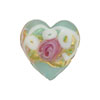 Venetian Bead Wedding Cake Heart 16mm, Pale Aqua