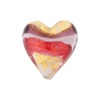 20mm Murano Glass Bead, Heart Shaped, Double Ribbon Gold & Pink