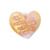 Murano Glass Heart Bead, Pink Fern Patterned  19mm