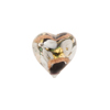 Black and Gray Bed of Roses Heart 16mm, Murano Glass Bead
