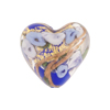Cobalt and Blue Bed of Roses Heart 20mm Venetian Glass Bead