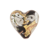 Black and Gray Bed of Roses Heart 20mm Venetian Glass Bead