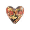 Black and Red Bed of Roses Heart 20mm Venetian Glass Bead