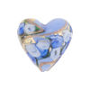 Blue Bed of Roses Heart 20mm Venetian Glass Bead