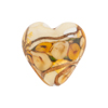 Topaz Bed of Roses Heart 20mm Venetian Glass Bead