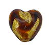 Murano Glass Bead Topaz Swirls over 24kt Gold Foil 13mm Heart