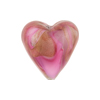 Amethyst and  Rubino Swirl Caramella Swirl Heart 20mm Murano Glass Bead