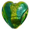 Aqua and Green Heart 21mm Exterior Gold Foil Venetian Glass Bead