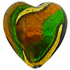Topaz Emerald Heart 21mm Exterior Gold Foil Venetian Glass Bead