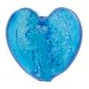 Aqua .925 Sterling Silver Foil Heart 28mm, Murano Glass Bead