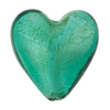 Sea Green White Gold Foil Heart 28mm, Murano Glass Bead