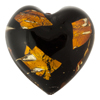 Murano Glass Bead Black Hearts Topaz Silver Pieces 30mm
