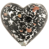 Black Aventurina Silver Foil Speckles Heart 30mm, Murano Glass Bead