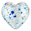 Aqua and Cobalt Silver Foil Speckles Heart 30mm, Murano Glass Bead