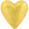 Murano Glass Bead Heart 24kt Gold Foil Clear 37mm