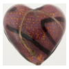 Murano Glass Bead Amethyst Incalmo Heart 30mm Gold Foil