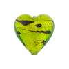 Peridot and Gold LaCrima Print Hearts 20mm Murano Glass Beads