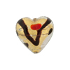 Miro Murano Glass Bead, Multi-Colored Gold & Silver Foil Heart, 18mm