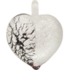 Black and White Silver Foil Bicolor Heart Pendants 30mm Murano Lampwork