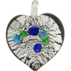 Black and Aqua Dota Silver Foil Heart Pendants 30mm Murano Lampwork