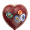 Garnet Red Millefiori Foil Heart Ornament Murano Glass