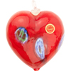 Orangey Red Millefiori Foil Heart Ornament Murano Glass