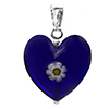 Cobalt Puffy Flower Heart Pendant with Daisy Murano Glass 18MM Silver Bail