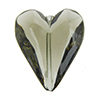 Beveled Murano Glass Heart 26mm Gray Transparent