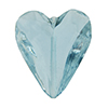 Beveled Murano Glass Heart 26mm Alessandrite Transparent