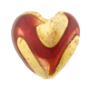 Murano Glass Bead Sole Heart 25mm Exterior Gold Red and Rubino