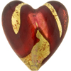Murano Glass Bead Sole Heart 35x37mm Exterior Gold Red and Rubino