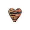 Topaz and Black Tiger Sparkle Heart, Murano Glass Bead, 16mm