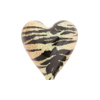 Light Topaz and Black Tiger Sparkle Heart, Murano Glass Bead, 20mm