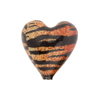 Topaz and Black Tiger Sparkle Heart, Murano Glass Bead, 20mm
