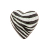 Black and White Zebra Sparkle Heart, Murano Glass Bead, 20mm